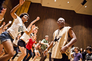 The African Music Ensemble class emphasizes the music of Ghana and is taught by Ghanian musician C.K. Ladzekpo. (UC Berkeley photo by Elena Zhukova)
